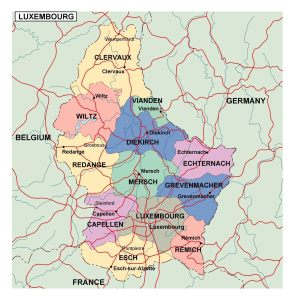 Administrative Map of Luxembourg   Detailed Luxembourg Administration