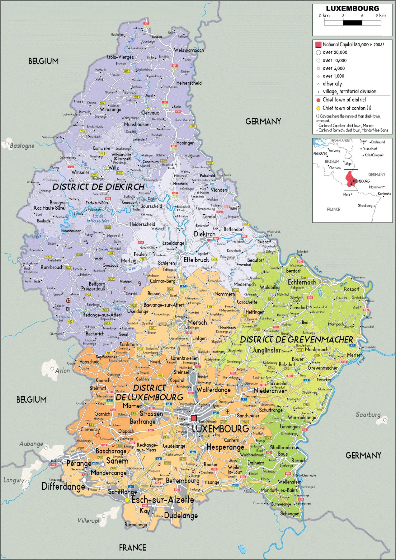 Map of Luxembourg | Physical Map of Luxembourg