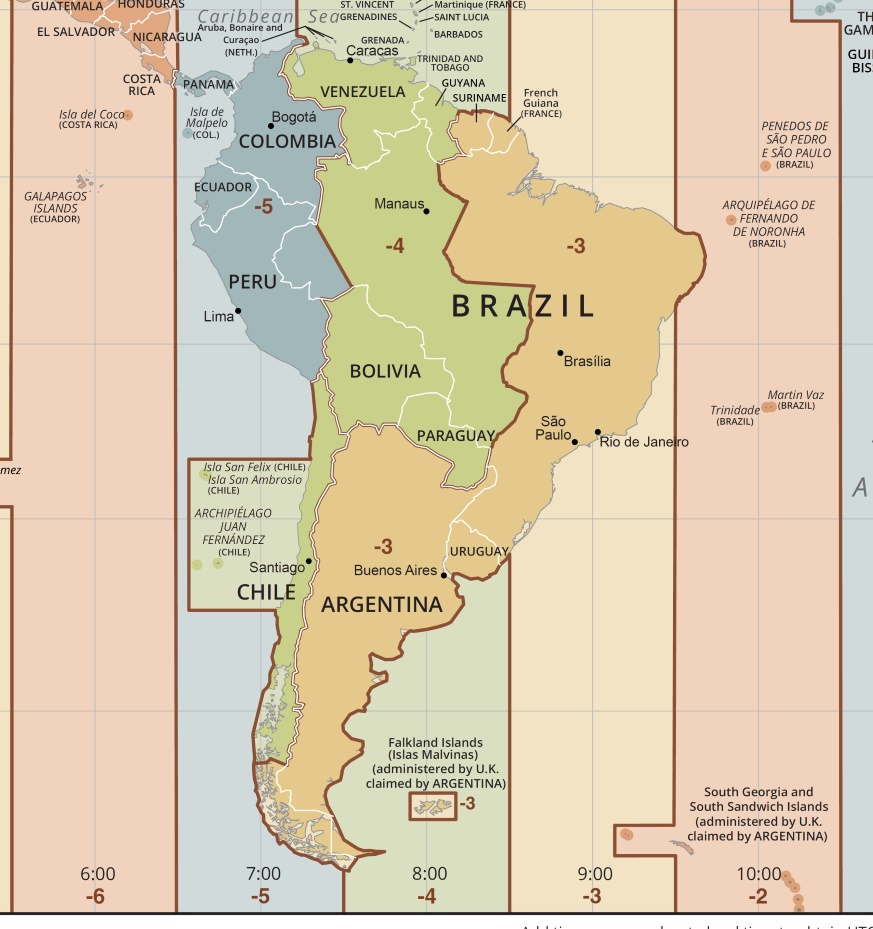 Time Zone Map America Time Zone Map of South America | South America Time Zone | WhatsAnswer