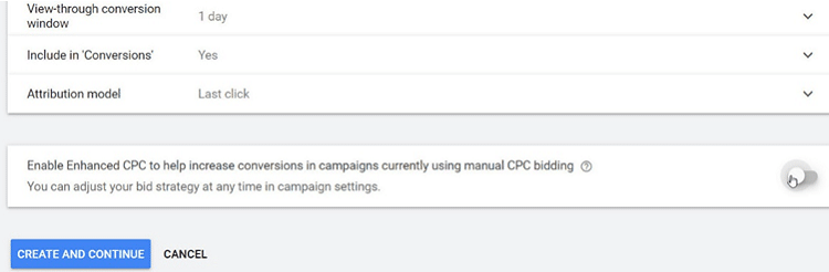 Google Ads - Accept the other defaults but disable Enhanced CPC_