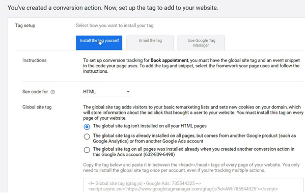 Google Ads - Install the tag, following the installation and configuration instructions_