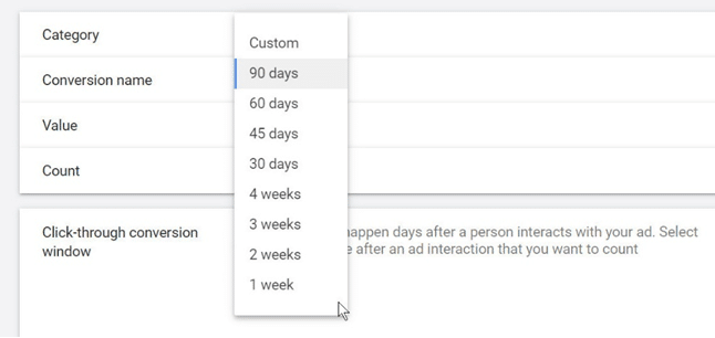 Google Ads - Select 90 days conversion window_