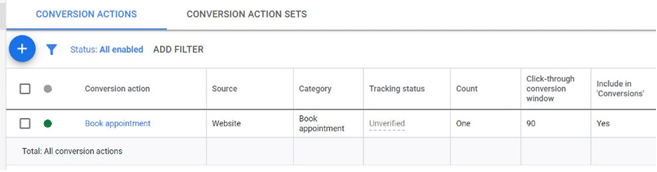 Google Ads - Tracking is in place ready to be tested
