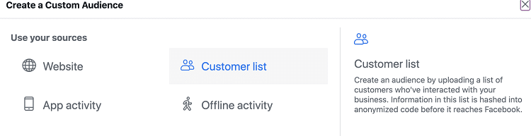 Use Customer List for Custom Audience