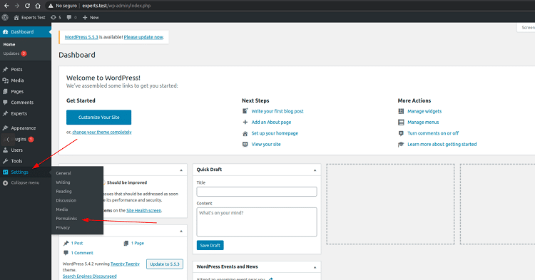 How to find permalinks settings in WordPress