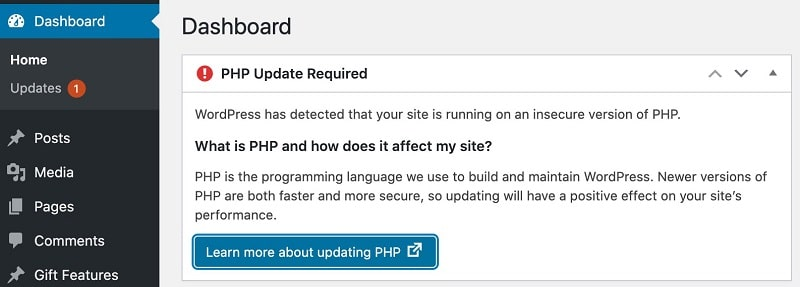 PHP Version Mismatch