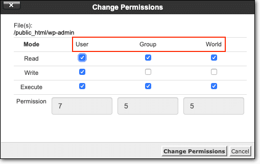 User Groups File Permissions WordPress