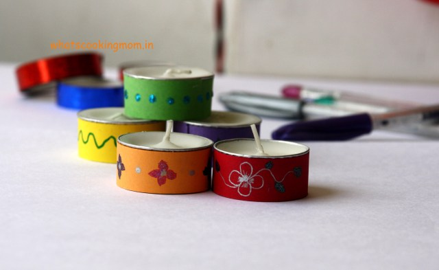 decorative tea lights - Diwali craft, Diwali school project
