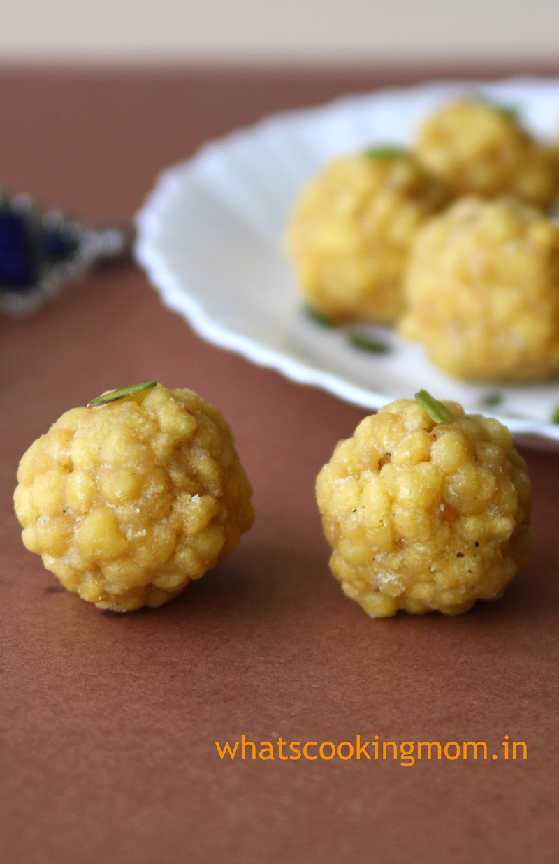 Boondi Ladoo - festival sweets, indian   whatscookingmom.in