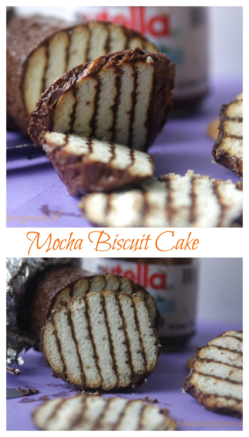 Mocha Biscuit Cake - 3 ingredient recipe. Very easy to make. Layers of coffee flavored biscuits smeared with Nutella. Ready in 5 minutes.