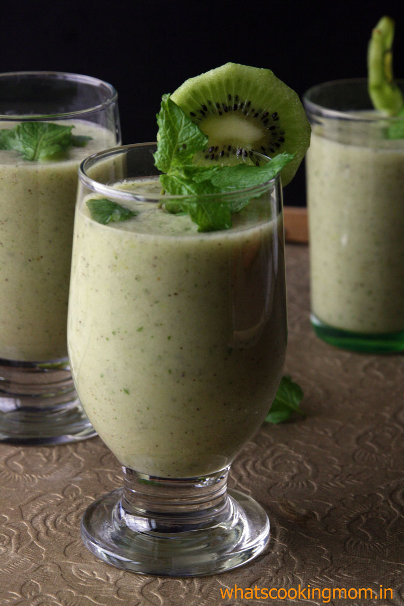 Green fruit smoothie - grapes, kiwi, mint smoothie, breakfast, healthy drink