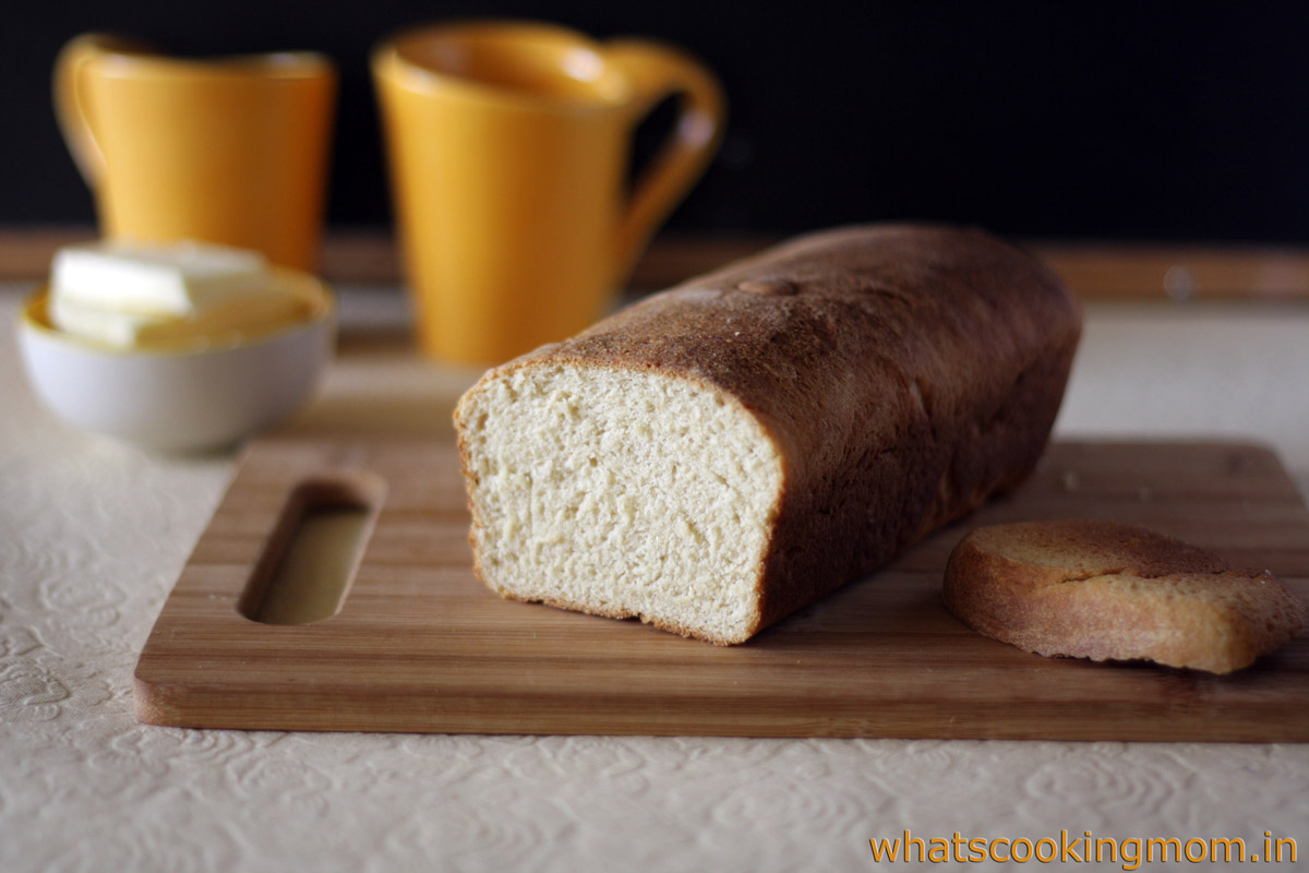 Homemade Bread - eggless bread recipe with step by step pics