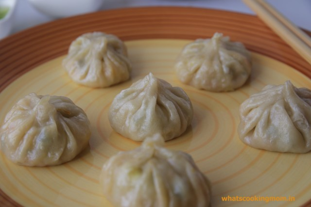 vegetable momos - yummy vegetarian snack, appetizer filled with vegetables