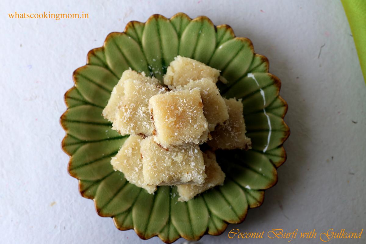 Coconut burfi with gulkand 1
