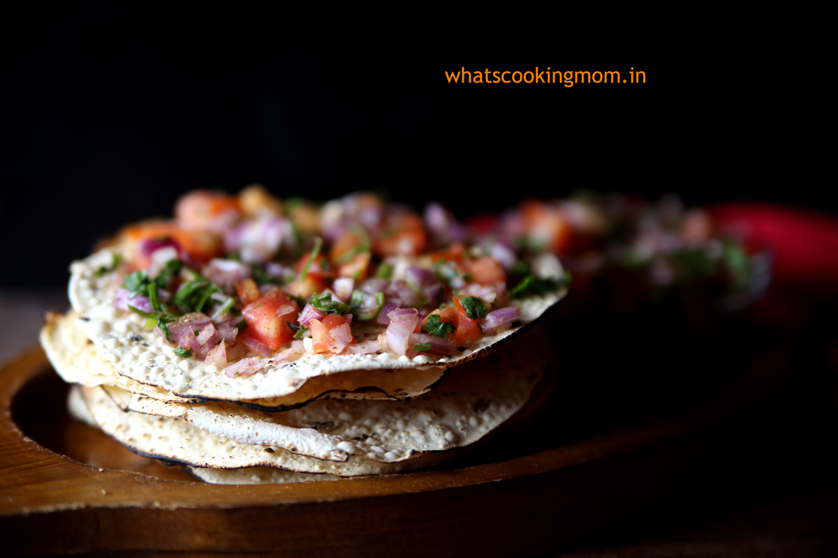 Masala Papad - ready in 5 minutes, vegetarian, indian snack, appetizer