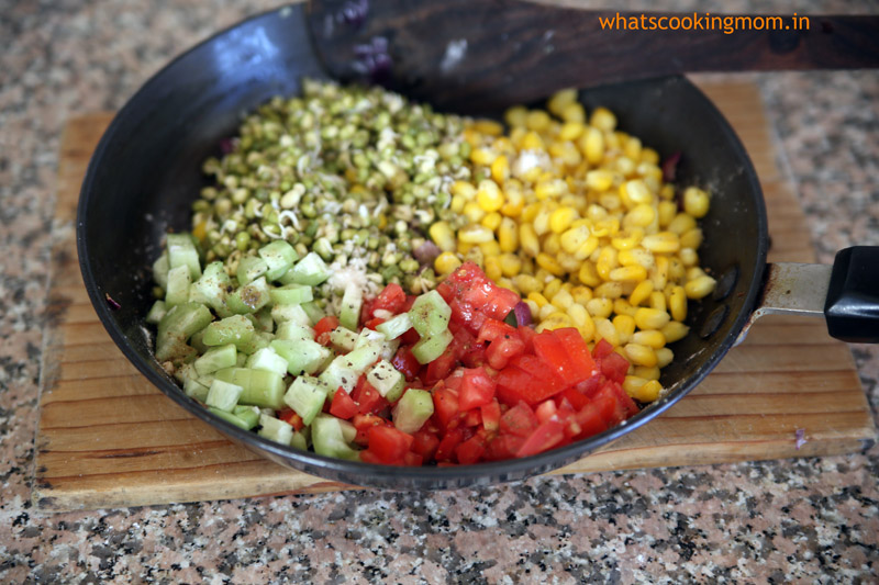 corn sprout delight - healthy yummy salad with corn and sprouts