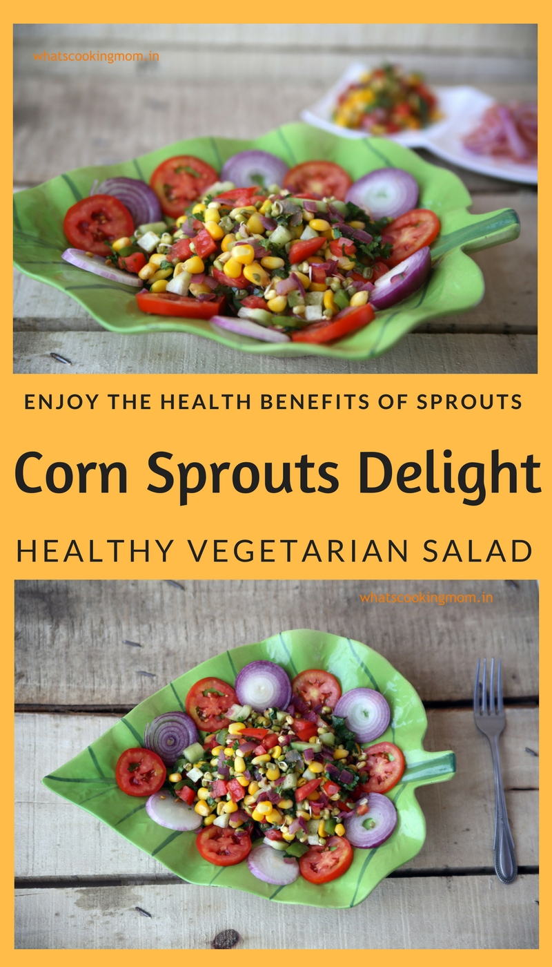 corn sprouts delight - #healthy #yummy #salad #vegetarian with corn and sprouts, #nutritious #lightmeal