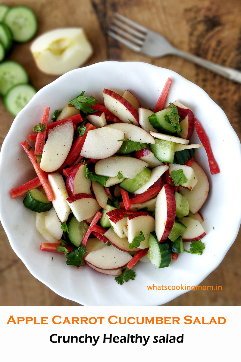 Apple carrot cucumber salad served in a white bowl