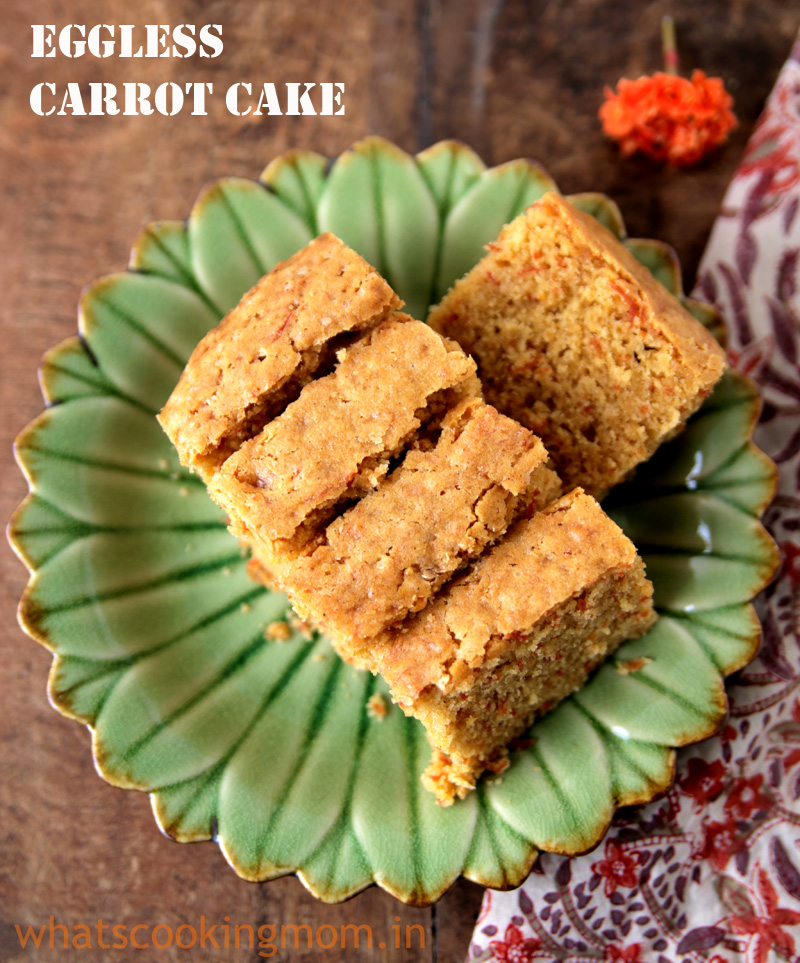 Eggless Carrot Cake Recipe
