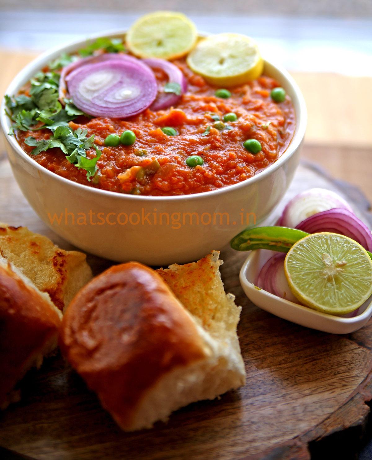 Pav Bhaji - Vegetarian Indian Street food from Mumbai made with mixed vegetables and potatoes