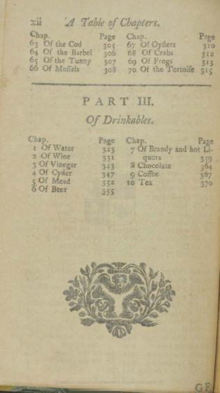 A treatise of all sorts of foods, both animal and vegetable, also of drinkables, contents, part 3
