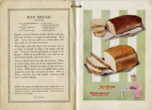 recipe for rye bread; images of partial cut loaves of rye and white bread