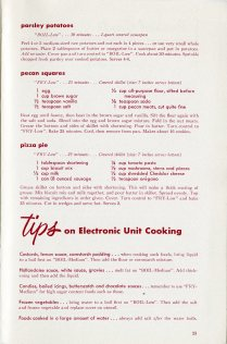sample recipes and tips for using an electric stove
