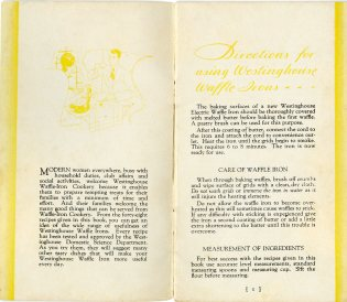 introduction to pamphlet, including instructions for using and caring for a waffle iron