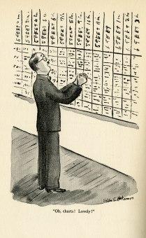 man looking at chart on wall