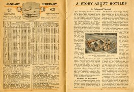 """January and February 1926 calendar and weather forecasts. essay """"A Story about Bottles."""""""