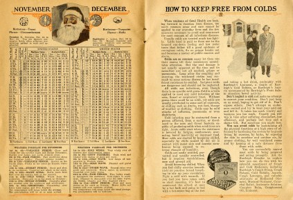 """November and December 1926 calendar and weather forecasts. essay """"How to Keep Free from Colds."""""""
