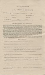 Bureau of Internal Revenue, Form 192, Report Showing Condition of Fruit Distillery, (Page 1)