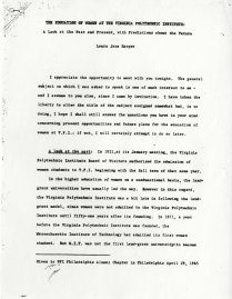 This is the first page of a compilation of materials. It's primarily the text of a talk given by Dr. Harper, but also includes text of an interview with Lucy Lee Lancaster (one of the first women to attend VPI and a later a librarian), and other information on women's history at VPI.