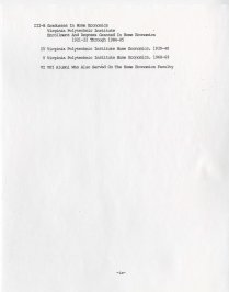 Table of contents from History of Home Economics at V.P.I., 1985
