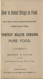 """How to Detect Drugs in Food. Although there isn't a date on this, a note on the back page talks about drugs in baking powder, suggesting it dates to the """"Baking Powder Wars"""" of the early 20th century."""