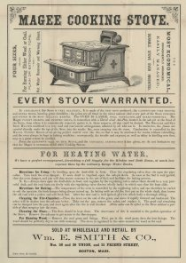 Magee Cooking Stove. One page advertisement for a (rather large) home kitchen stove.
