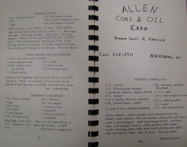 Blacksburg's Best, 1968, Advertisement and dessert recipes