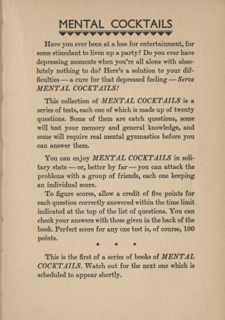 Mental Cocktails, 1933. Introduction.