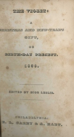 Title page from The Violet (1839), a gift book edited by Leslie. It also includes one of her stories.