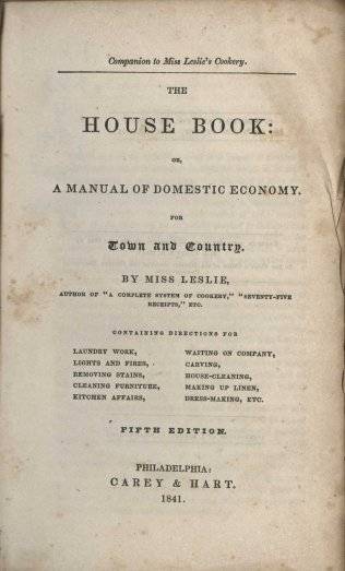 Title page from The House Book (1841)