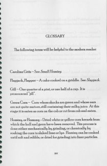 Glossary page from the 1998 reprint of Corn Meal Cookery, originally published in 1846