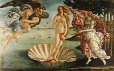 "The Birth of Venus is a 1486 painting by Sandro Botticelli. Botticelli was commissioned to paint the work by the Medici family of Florence. Venus is characterized by her slim figure and perfect ""s-curve"" stature which showed correct muscle contrapposto. In contrast, the women next to her was robust and possibly pregnant-looking."
