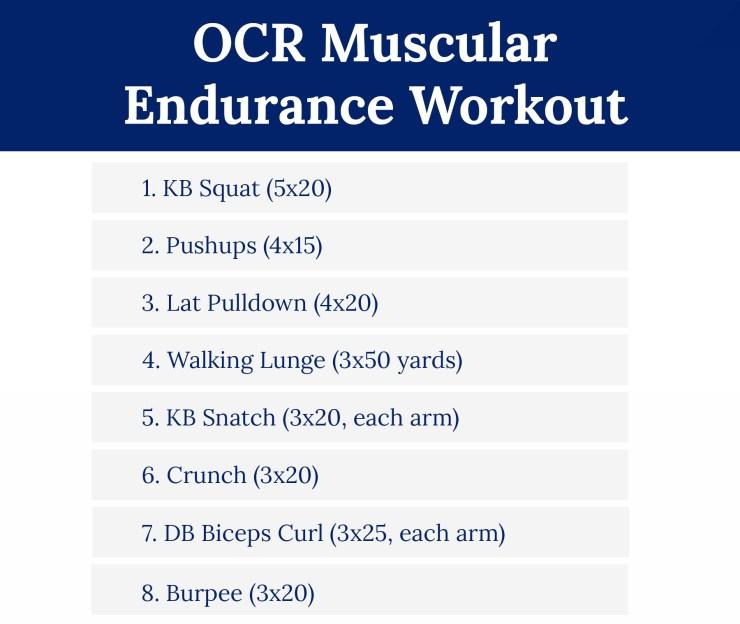 OCR Muscular Endurance Workout