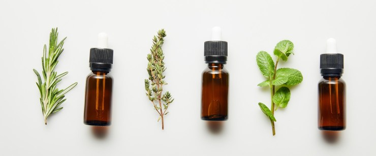 three essential oils and herbs