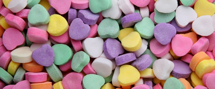 better-for-you sweets: colorful hearts candy