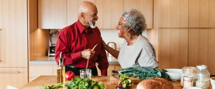 heart-healthy habits: older black couple cooking
