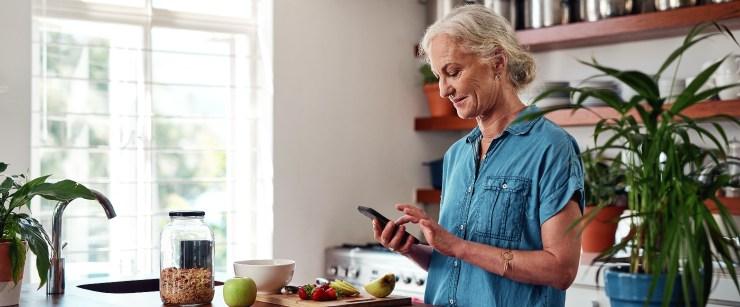 keep brain sharp: older woman on phone
