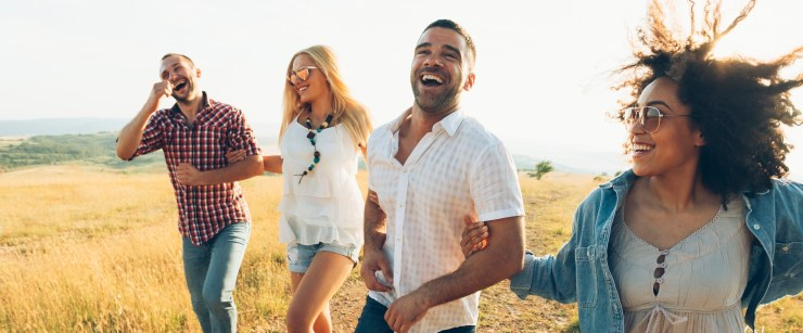 boost your immunity: friends laughing outside