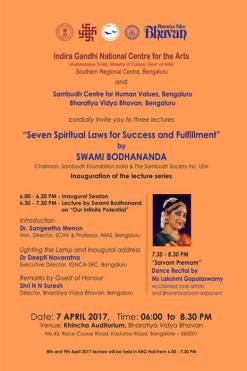Seven Spiritual Laws for Success and Fulfillment - Lecture series by Swamy Bodhananda org by Indira Gandhi National Centre for the Arts at Bharatiya Vidya Bhavan (1)