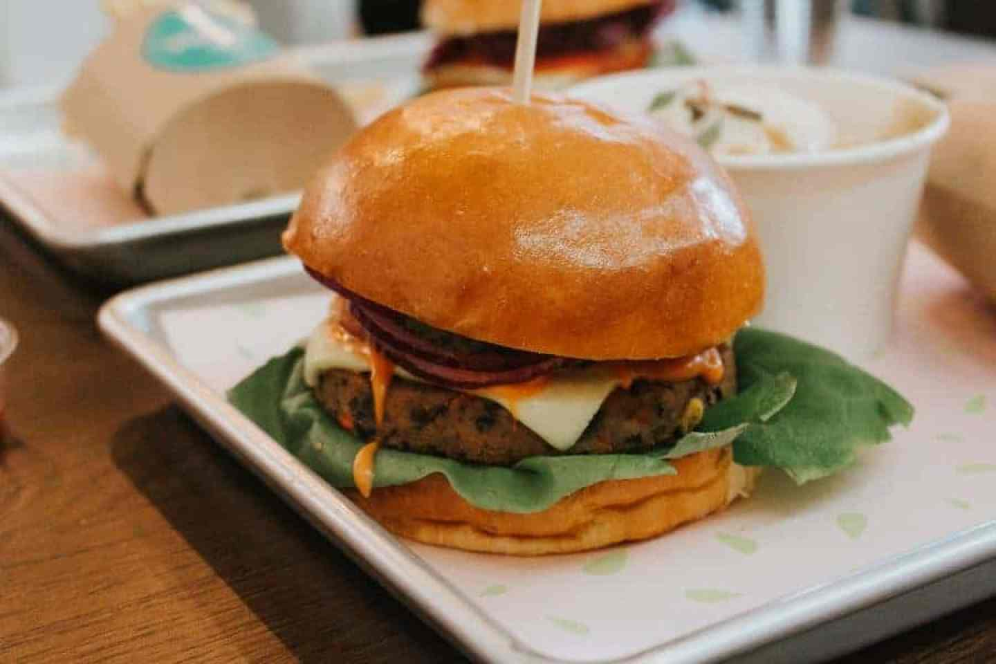 Close up of the Auburger - The Vurger Co Review: A Vegan Burger Bar in Shoreditch